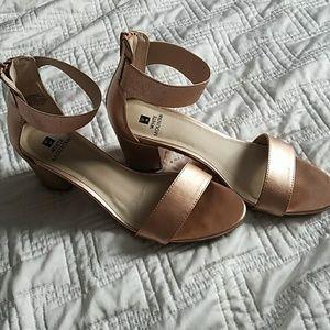 Rose gold chunk heels